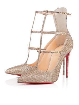 Sparkling Glitter Closed Toe mit Buckle Stiletto Heel High Heels