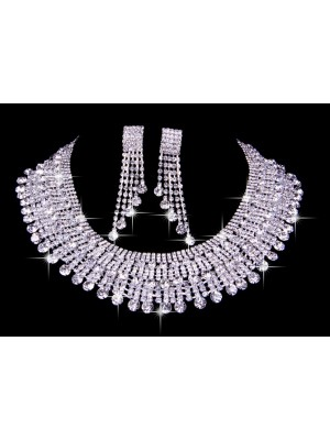 Elegant Czech Strasssteines Wedding Necklaces Earrings Set