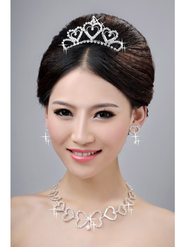Awesome Alloy Clear Kristalles Hearts Wedding Party Earrings Set
