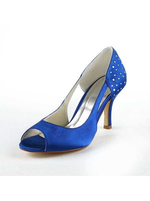 Gorgeous Satin Stiletto Heel Peep Toe With Strasssteine High Heels