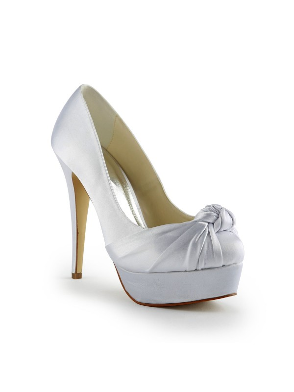 Gorgeous Satin Stiletto Heel Pumps With Rüschen Weip Wedding Shoes