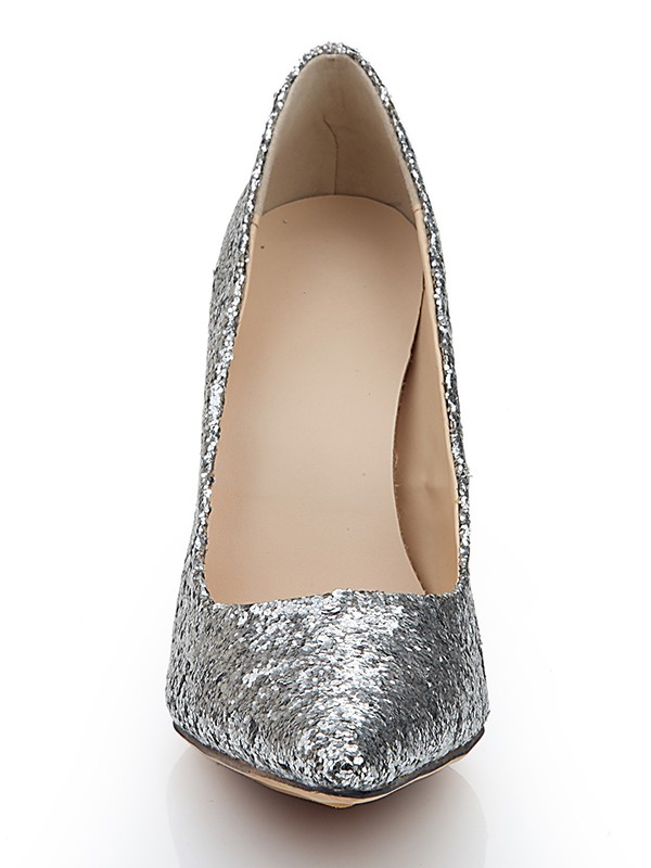 Closed Toe Spool Heel Elastic Leather With Pailletten Silber Wedding Shoes