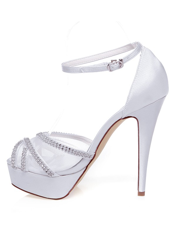 Satin Peep Toe Stiletto Heel Strasssteines Wedding Shoes