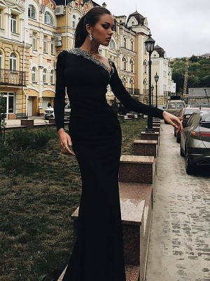 Trumpet/Mermaid Long Sleeves One-Shoulder Satin Beading Sweep/Brush Train Dresses