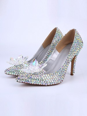 Patent Leather Cone Heel Closed Toe With Kristalle Flower High Heels