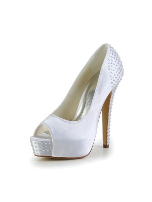 Satin Stiletto Heel Peep Toe Platform Weip Wedding Shoes With Strasssteine