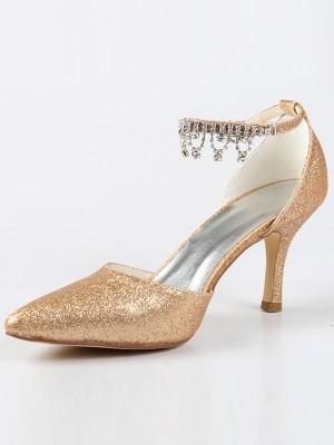 Mary Jane Closed Toe Cone Heel With Strasssteine High Heels